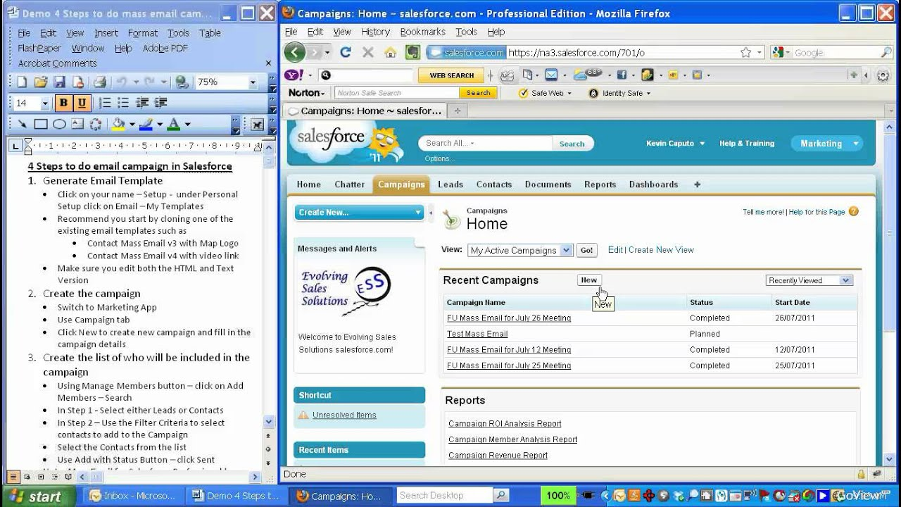 Instruction demo on how to do an email campaign in Salesforce